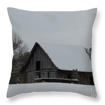Winter Barn Throw Pillow by Charlotte Gray