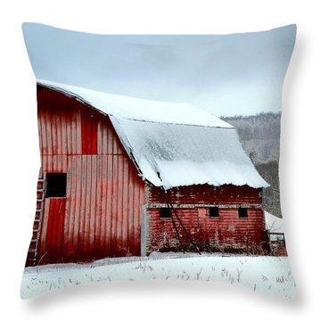 Winter Barn Throw Pillow by Deena Stoddard