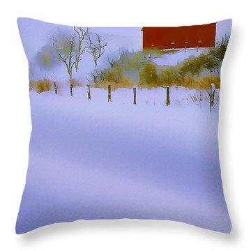 Winter Barn Throw Pillow by Ron Jones
