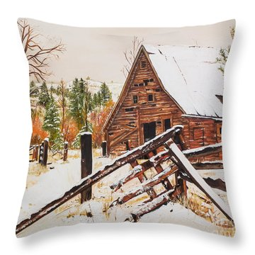 Winter - Barn - Snow In Nevada Throw Pillow