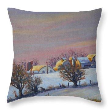 Winter Barns Throw Pillow