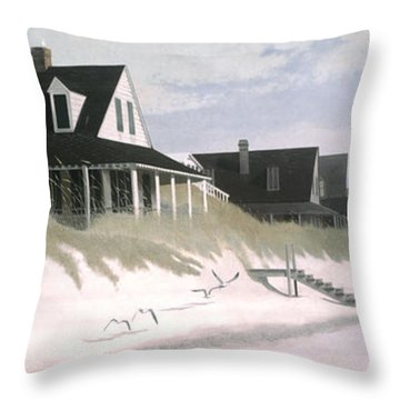 Winter Beach Throw Pillow