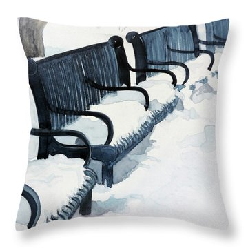 Throw Pillow featuring the painting Winter Benches by Tom Riggs
