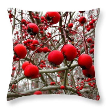 Winter Berryscape Throw Pillow