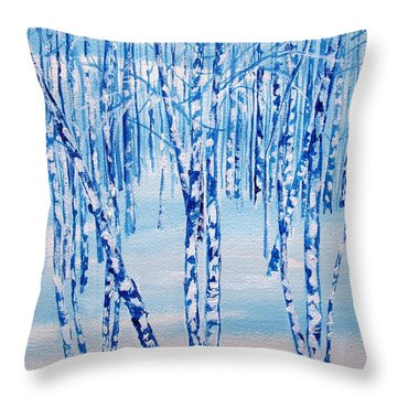 Winter Birch Throw Pillow by Ellen Canfield