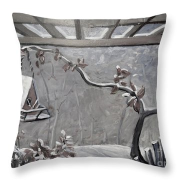 Throw Pillow featuring the painting Winter Bird House by Gretchen Allen