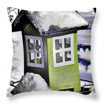 Throw Pillow featuring the photograph Winter Birdfeeder by Nina Silver