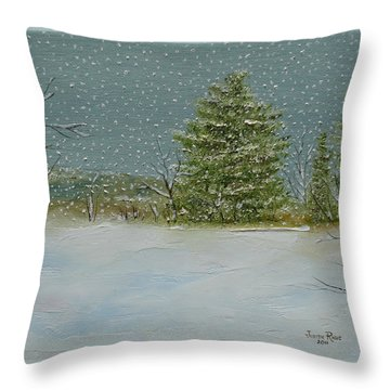Throw Pillow featuring the painting Winter Blanket by Judith Rhue