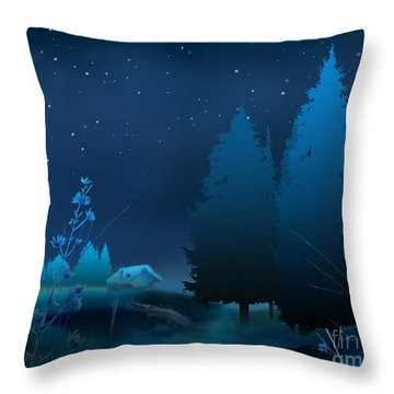 Winter Blue Night Throw Pillow