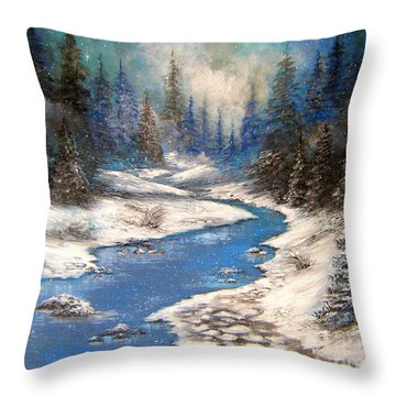 One Little Blue Throw Pillow by Patrice Torrillo