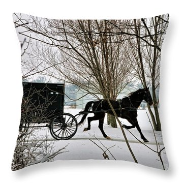 Winter Buggy Throw Pillow