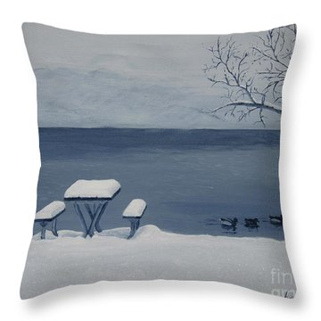 Winter By The Lake Throw Pillow