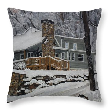 Winter - Cabin - In The Woods Throw Pillow