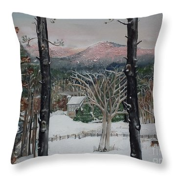 Winter - Cabin - Pink Knob Throw Pillow