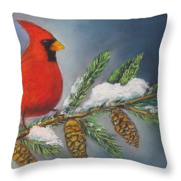 Winter Cardinal 2 Throw Pillow by Melinda Saminski