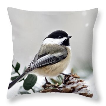 Winter Chickadee Throw Pillow