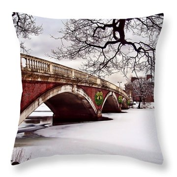 Winter Christmas On The Charles River Boston Throw Pillow by Elaine Plesser