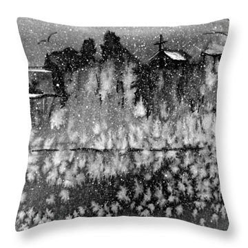 Winter Cliff Church Blk Throw Pillow