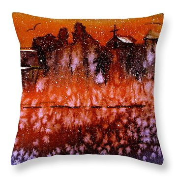 Winter Cliff Church Throw Pillow by Gretchen Allen