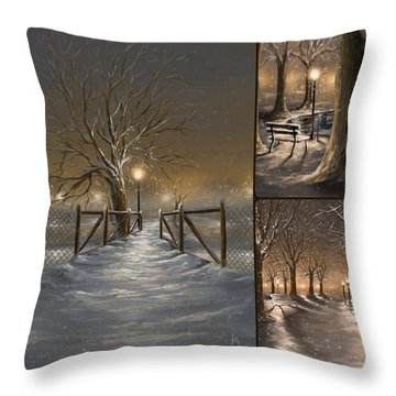 Winter Collage Throw Pillow