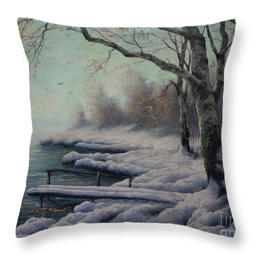 Winter Coming On The Riverside Throw Pillow