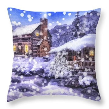 Winter Creek Throw Pillow by Mo T
