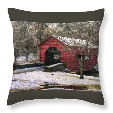 Winter Crossing In Elegance - Carroll Creek Covered Bridge - Baker Park Frederick Maryland Throw Pillow