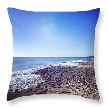 Winter Day On The Beach #enjoy #waves Throw Pillow