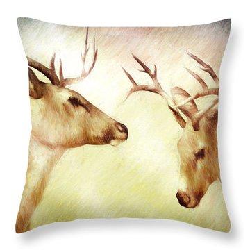 Winter Deer Throw Pillow by Bob Orsillo