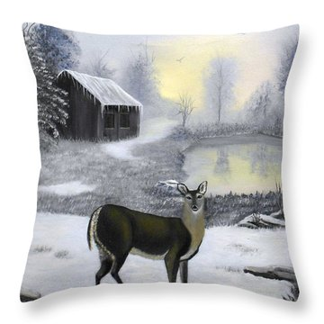 Winter Doe Throw Pillow