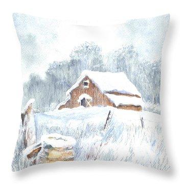 Winter Down On The Farm Throw Pillow by Carol Wisniewski
