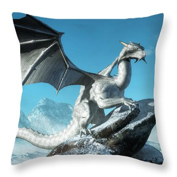 Winter Dragon Throw Pillow