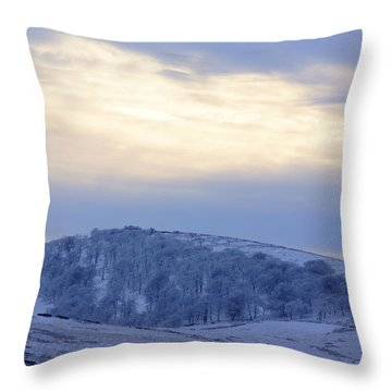 Winter Dusk Near Buxton Throw Pillow by David Birchall