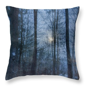 Winter Early Morning Setting Moon Throw Pillow