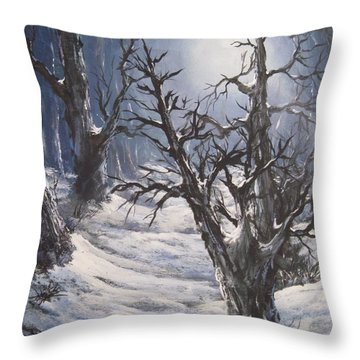 Throw Pillow featuring the painting Winter Eve by Megan Walsh