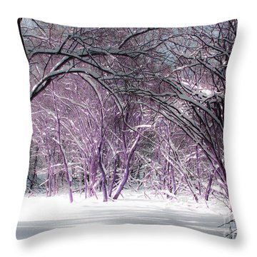 Winter Faeries Throw Pillow by Barbara McMahon