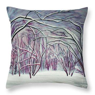 Winter Fairies Throw Pillow by Barbara McMahon