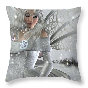 Winter Fairy In The Snow Throw Pillow