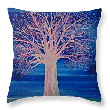 Winter Fantasy Tree Throw Pillow by First Star Art