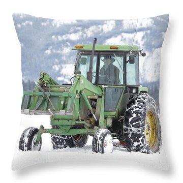 Winter Feeding Throw Pillow by Diane Bohna