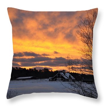 Winter Fire Throw Pillow by Jim Brage