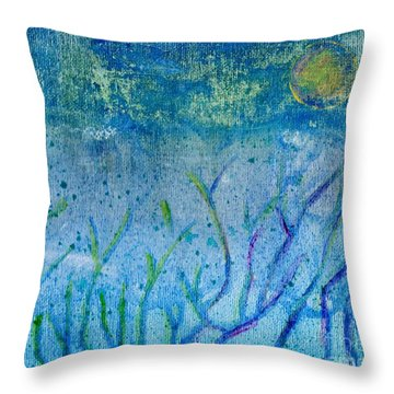 Winter Forest In Moonlight Throw Pillow