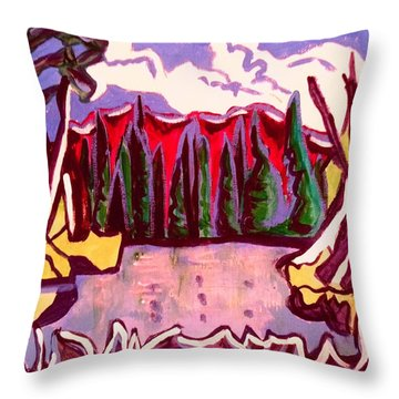 Winter Forest Path Throw Pillow