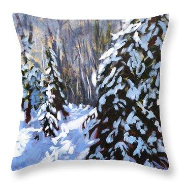 Winter Forest Walk Throw Pillow