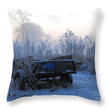 Winter Frost On Michigan Trailer Throw Pillow by Erick Schmidt