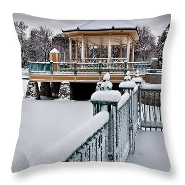 Throw Pillow featuring the photograph Winter Gazebo by Steven Reed