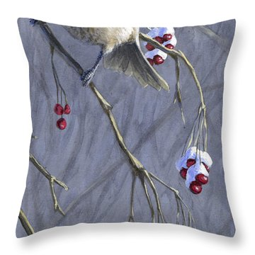 Winter Harvest 1 Chickadee Painting Throw Pillow