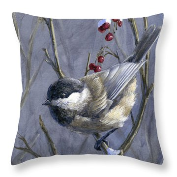Winter Harvest 2 Chickadee Painting Throw Pillow