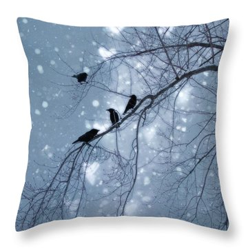Winter Hearts Pillow By Gothicolors Donna Snyder Throw Pillow