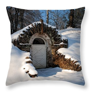 Winter Hobbit Hole Throw Pillow